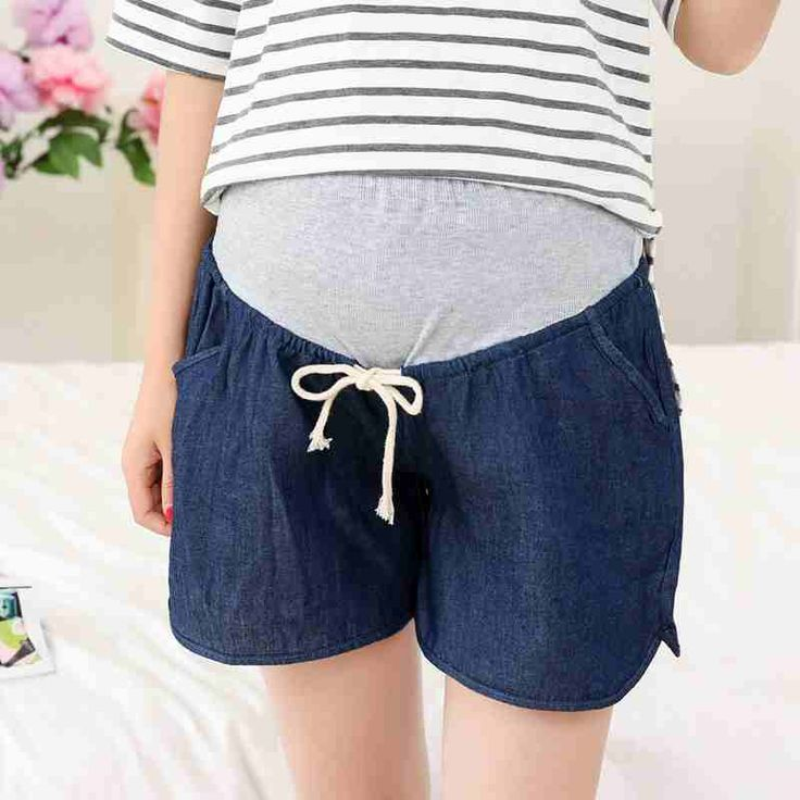 Maternity shorts immitation denim pregnant cotton capris