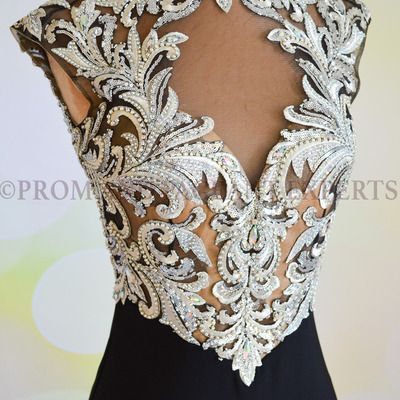 Black embroidered open black jasz couture gown