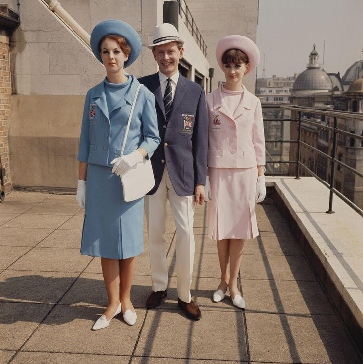 Models wearing the Great Britain team uniform for the 1964 Tokyo Summer Olympics. Dashing!