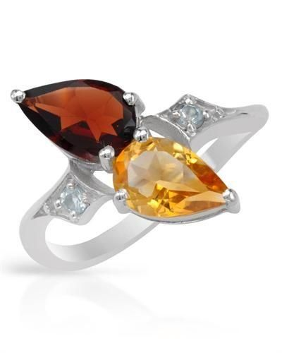 Ring With Citrines And Topaz - Size 8 Wonderful ring with genuine citrine, garnet and topazes well made of 925 sterling silver. Total item weight 2.8g. Gemstone info: 1 citrine, 1.04ctw., pear shape and yellow color, 1 garnet, pear shape and reddish brown color, 2 topazes, 0.16ctw, round shape and blue