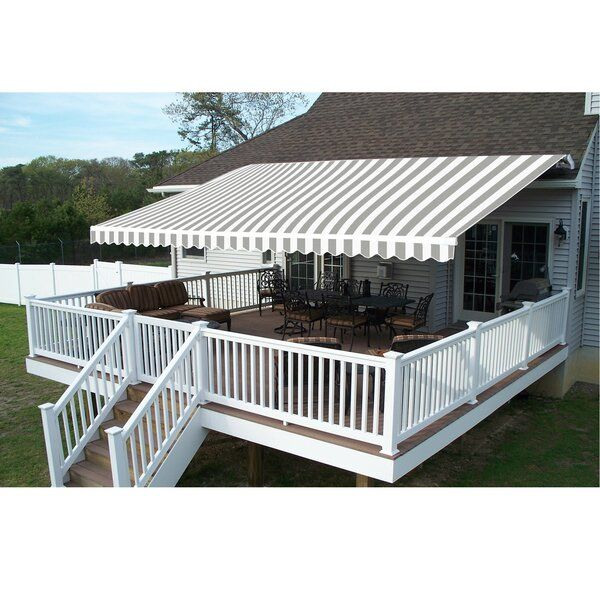13 Ft W X 10 Ft D Fabric Retractable Standard Patio Awning Patio Design Patio Canopy Patio Awning