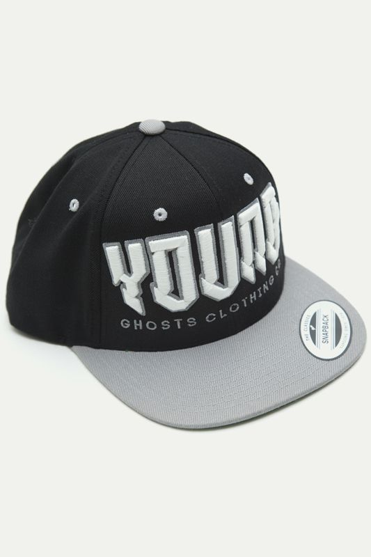 the YOUNG snapback (Black & Silver) by Young Ghosts