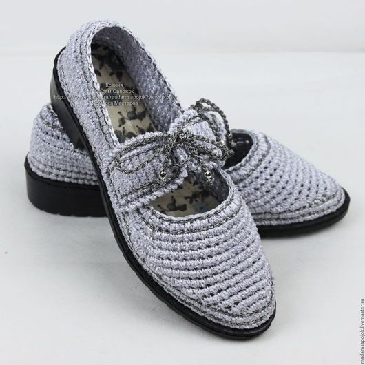Обувь ручной работы. Заказать Туфли вязаные Иней серебристый. Мадам Сапожок Ксения. Ярмарка Мастеров. Обувь летняя, слиперы