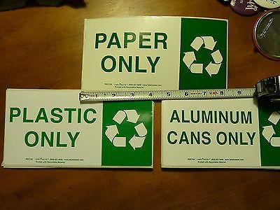 PAPER PLASTIC & ALUMINUM CANS Recycling label kit. You get 4 labels of each!!!!