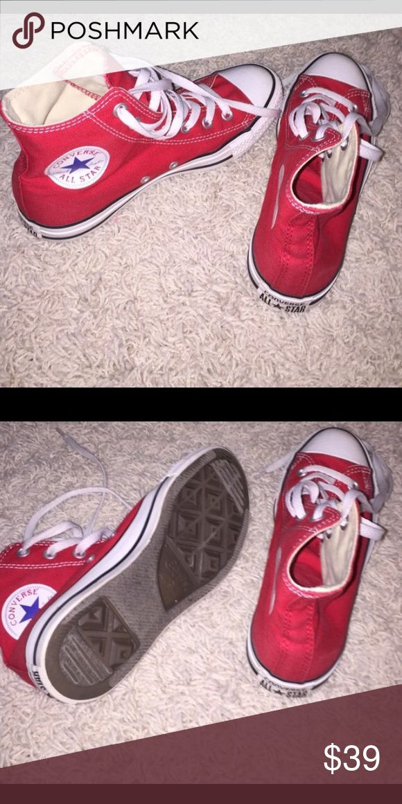 Red High Top Converse LIKE NEW! Like new converse! Great for football games! 5.5 in MENS! Converse Shoes Sneakers