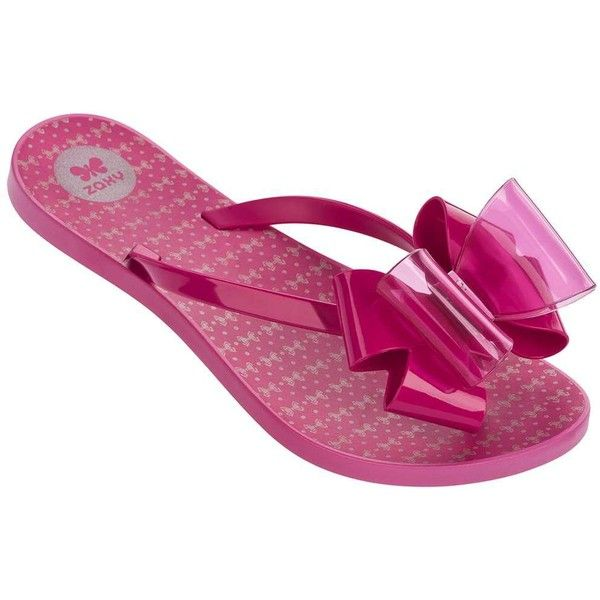 Dorothy Perkins **Zaxy Pink Twin Bow Flip Flops ($45) ❤ liked on Polyvore featuring shoes, sandals, flip flops, pink, dorothy perkins shoes, pink flip flops, pvc shoes, pink bow sandals and bow shoes
