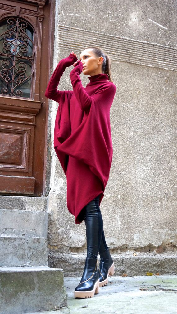 NEW Oversize Burgundy Loose Casual Top / Asymmetric by Aakasha