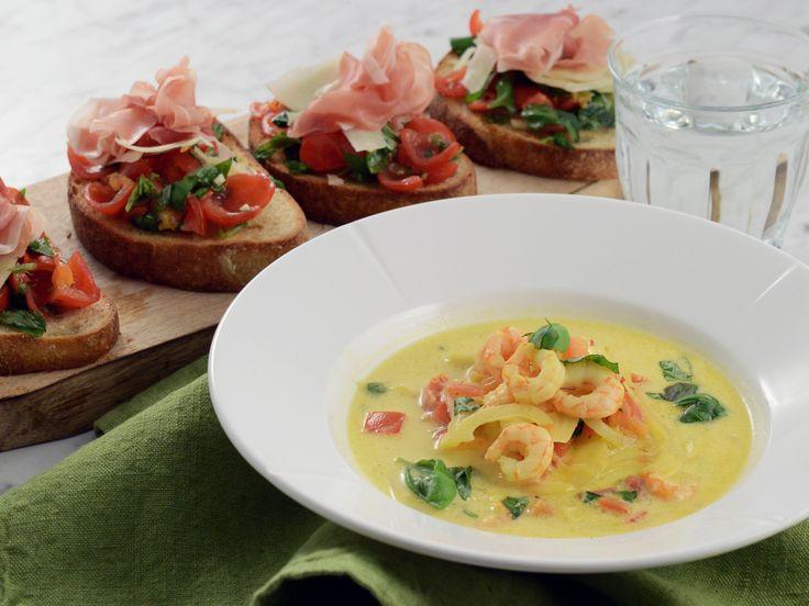 Italiensk räksoppa med tomat och bruschetta   Recept från Köket.se