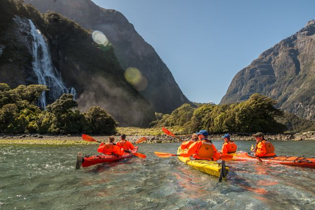 Discover this World Heritage area on a guided kayaking adventure in iconic Milford Sound. Experience the exceptional! Be dwarfed by Mitre Peak, Pembroke Glacier and thundering waterfalls from water level – this is truly amazing! With a small group of kayakers and a fun & friendly experienced guide, explore this spectacular fiord,  it's thundering waterfalls and unique wildlife ensuring an unforgettable experience.