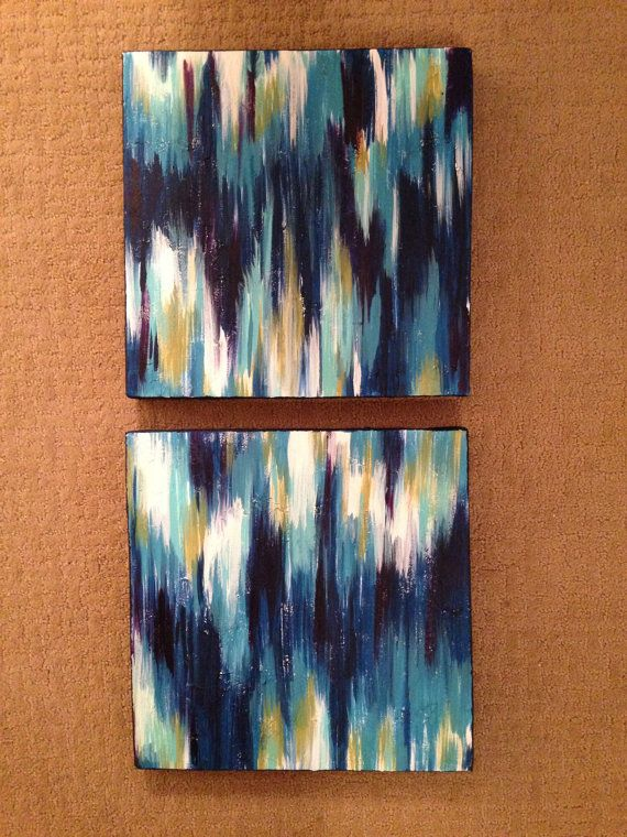 Ikat Design Textured Canvases by anniemneal on Etsy, $80.00