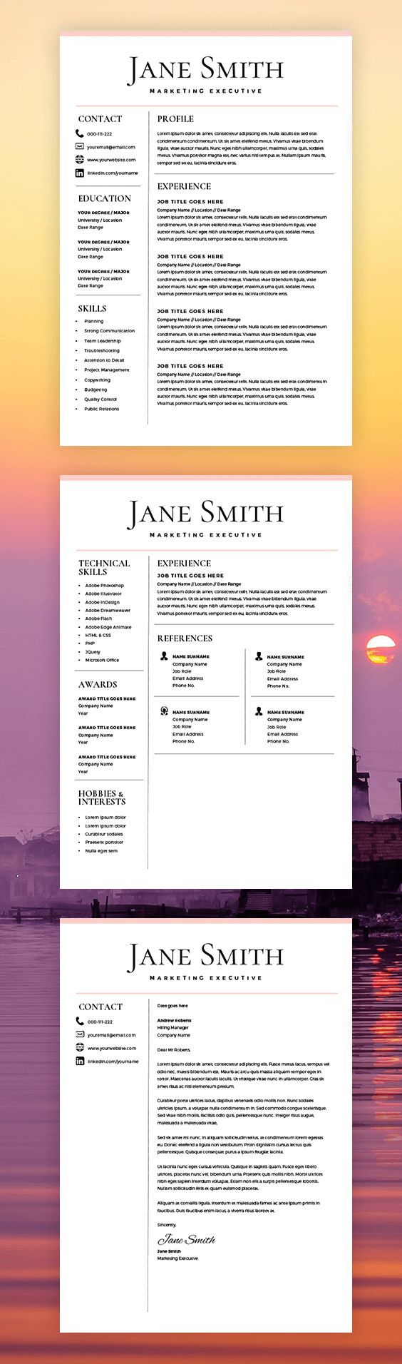 Resume Template - CV Template - Free Cover Letter - MS Word on Mac / PC - Design - Professional - Best Resume Templates - Instant Download