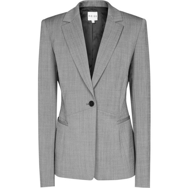 Reiss Floren Row Fitted Jacket ($244) ❤ liked on Polyvore featuring outerwear, jackets, blazers, suit, mid grey, reiss, reiss jacket, one button jacket, fitted blazers and tailored jacket