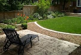 I like the transitions.  Moves the eye forward.  Makes the yard seem larger ?  You could use a different color of gravel instead of grass.  No watering this summer!!!!!!