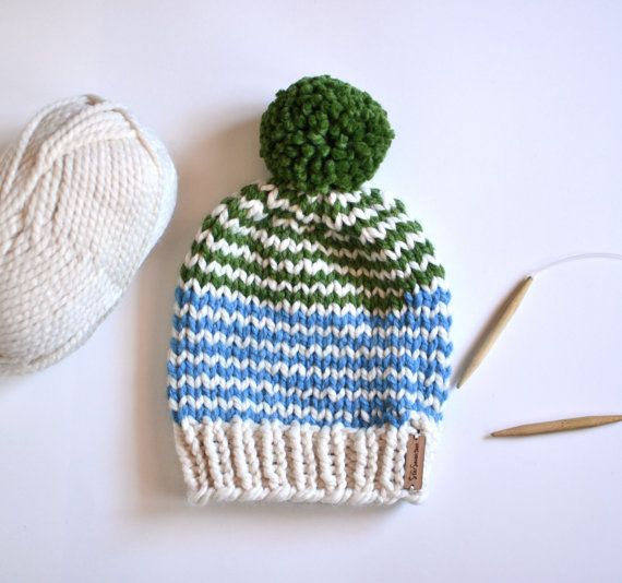 Striped Chunky Beanie // Hand Knitted Beanie With by StarSeventeen