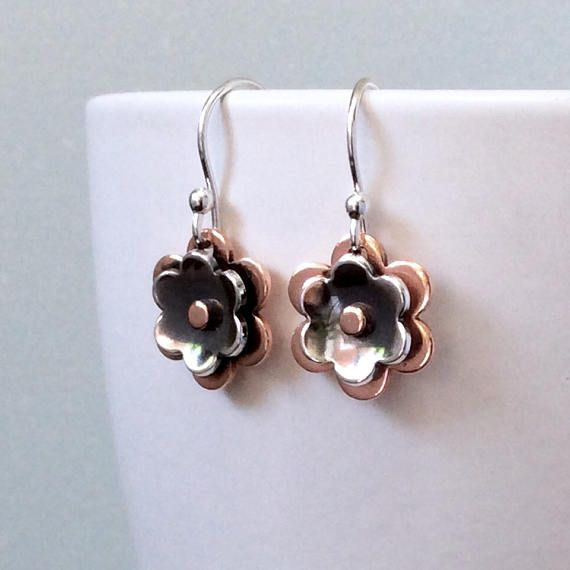 Flower earrings silver copper earrings everyday earrings