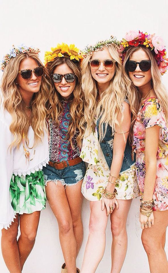 boho girls. flower crowns.