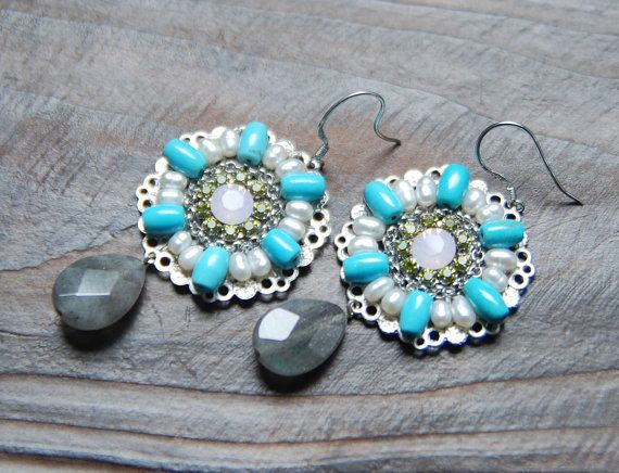 Turquoise Pearl chandelier earring. mix cubic by bijouroom on Etsy, $36.00