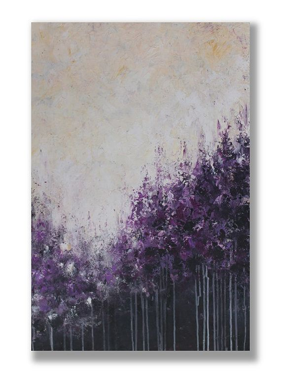 Púrpura bosque Original acrílico pintura hogar y vida arte
