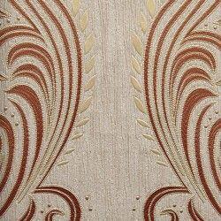 Diseño con formas de tipo barroco, en color beige y cobre en este papel pintado de la colección Karat de Parati.