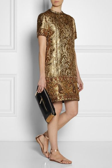 Lanvin Embellished metallic brocade dress  DETAILS Gold brocade Metallic threads, multicolored faux leather, bead, sequin and crystal embellishments, pouch pocket, fully lined in silk Concealed zip fastening along back 45% acrylic, 41% acetate, 14% polyester; lining: 100% silk Specialist clean