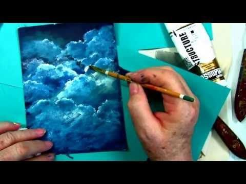 How to Paint Clouds tutorial, free step by step cloud tutorial by : Ginger Cook - YouTube