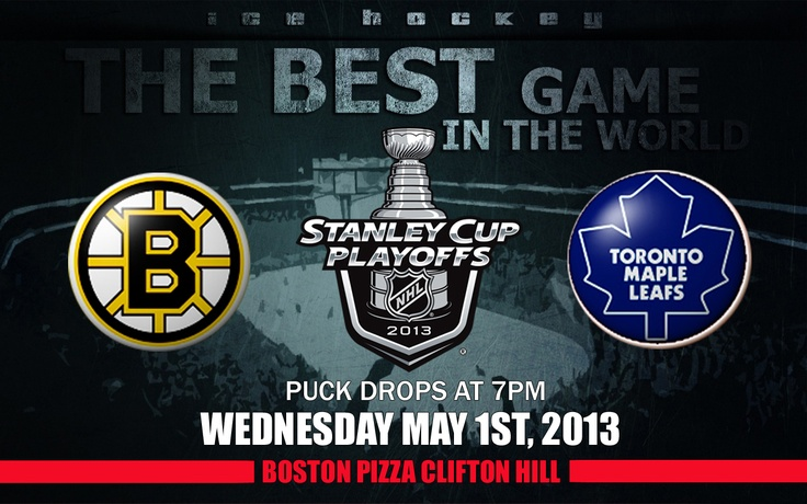 Boston Pizza Clifton Hill in Niagara Falls has all your NHL Playoff 2013 action! Eat, drink and be merry with over 100 menu items and countless big screen tvs! Check my blog for NHL Playoff 2013 scheduling and predictions!   http://www.cliftonhill.com/falls_blog/catch-the-nhl-playoff-2013-action-at-boston-pizza-clifton-hill-in-niagara-falls/
