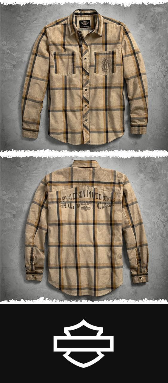 We upgrade this large-pane plaid with an allover tea stain for a worn, vintage look. | Harley-Davidson Men's Tea Stained Plaid Sweater