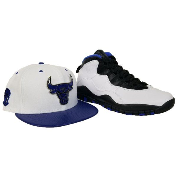Matching New Era Metal Chicago Bulls Snapback hat for Jordan 10 Orlando  White   Blue 39be6afb84c9