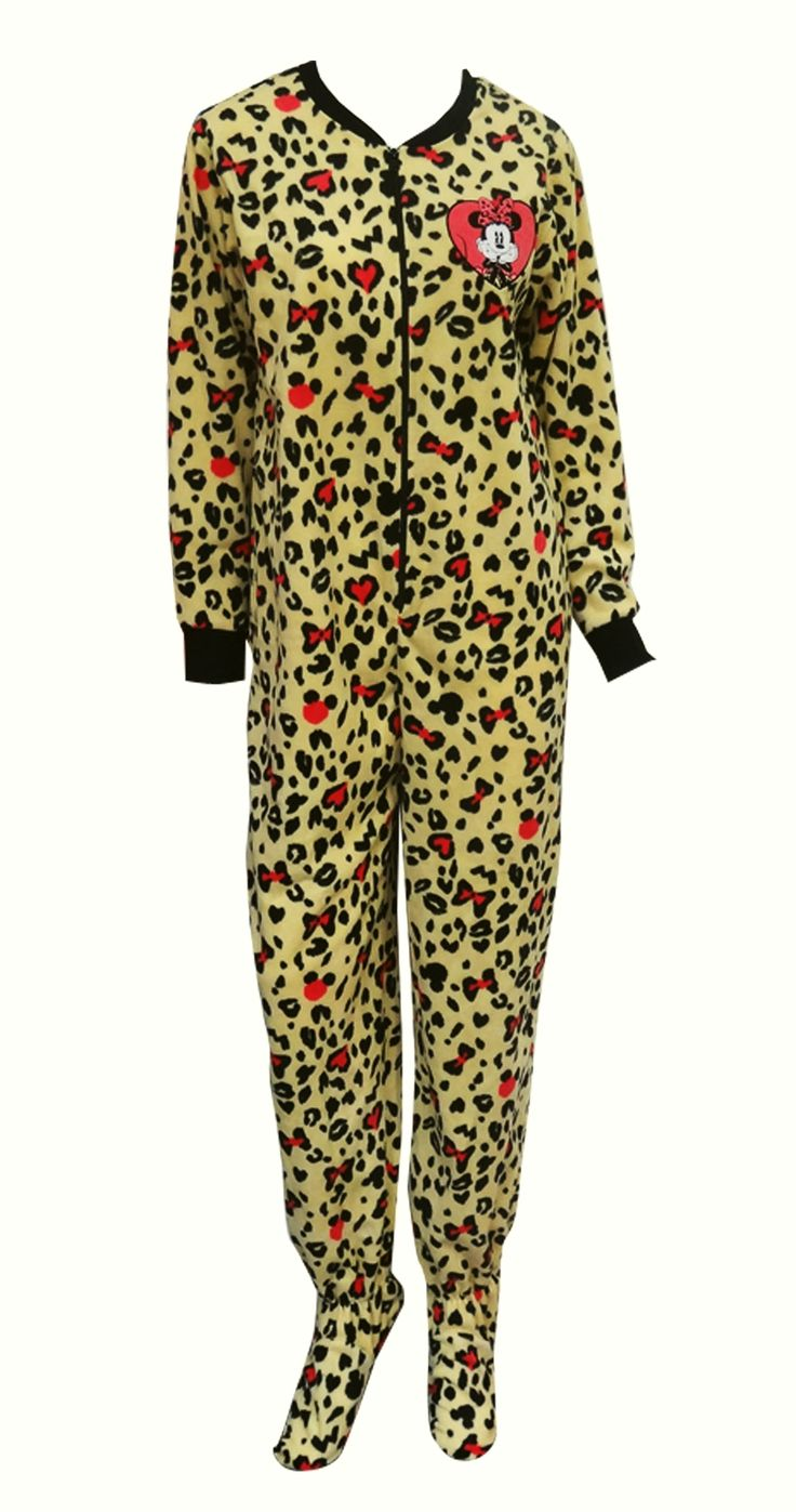 Disney's Minnie Mouse Leopard Onesie Footie Pajama The perfect jammies for any Disney fan! These pajamas for women feature Disn...