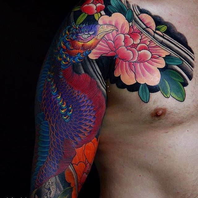 Japanese tattoo sleeve by @ishpiricatattoo.  #japaneseink #japanesetattoo #irezumi #tebori #colortattoo #colorfultattoo #cooltattoo #largetattoo #armtattoo #chesttattoo #tattoosleeve #phoenixtattoo #flowertattoo #wavetattoo #naturetattoo