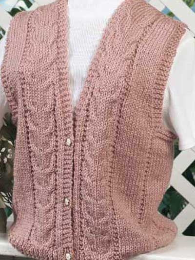 Free knitting pattern for a vest. Been looking for a vest for some time. This one is just right. If I start not, I may finish by fall!