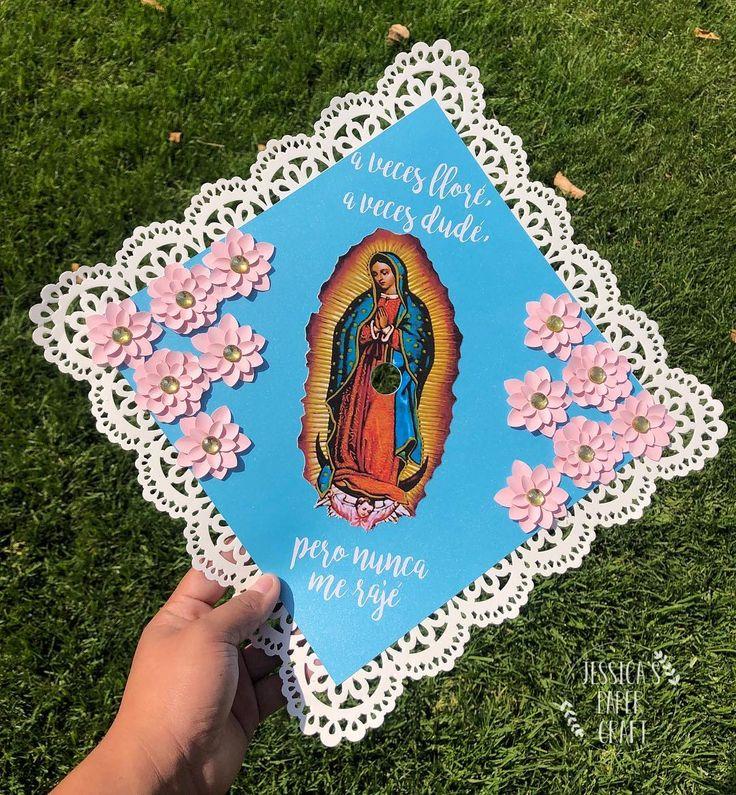 """Jessica G. on Instagram: """"A veces lloré, a veces dudé, pero nunca me rajé"""" Virgin de Guadalupe Cap with shimmery blue paper 🤩💗✨ #jes ..."""