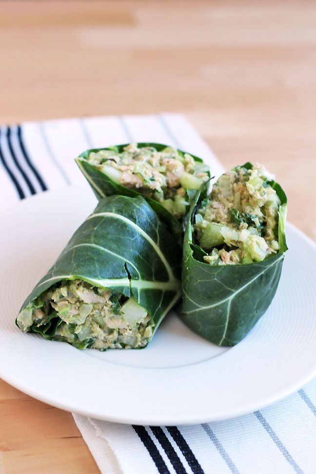 Tuna Salad Collard Wrap: 2 5-oz cans of tuna (Wild Planet brand is low in mercury and sustainably caught); 1 avocado, mashed; 2 tablespoons yellow or brown mustard; 4 stalks celery, diced; ¼ cup parsley, chopped; 2 tablespoons lemon juice; 2 green onions, diced; ¼ red onion, diced; freshly-ground black pepper and sea salt to taste; 1 bunch collard greens