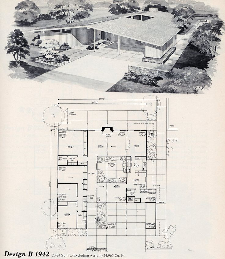 291 best images about mid century modern floor plans on for Atrium ranch floor plans