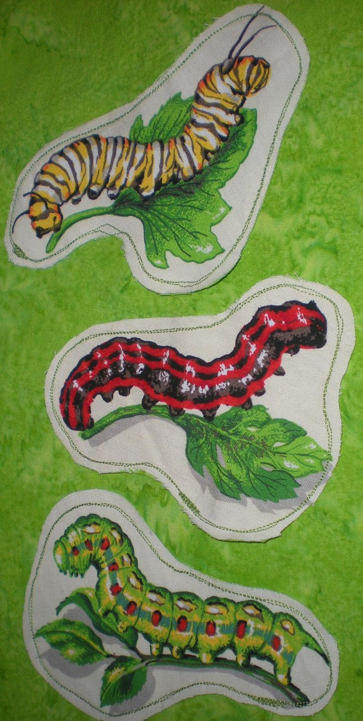 Caterpillar Book marks set of three fabric book marks OOAK entomologist gift bug book marks up cycled vegan ecofriendly by elainenthesun on Etsy