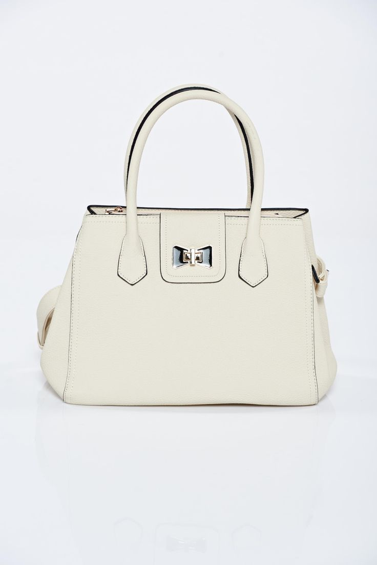 Cream casual upper material: ecological leather bag metalic accessory, short grab handles and single long detachable handle, metalic accessory, two compartments and inside pockets, upper material: ecological leather