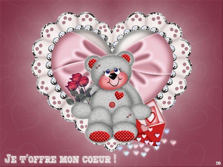 joli ours dans un coeur animé