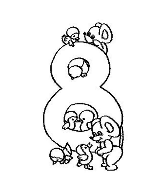 Learn Number 8 With Eight Rats Coloring Page Coloring Pages
