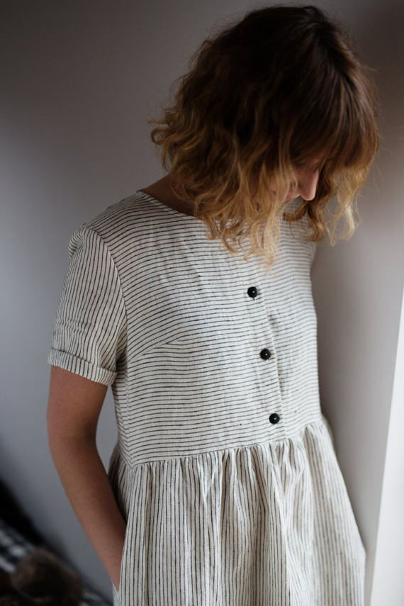 Linen Dress – Striped Linen Dress – Organic Linen Dress – Linen Short Sleeve Dress – Linen Women Dress – Handmade by OFFON