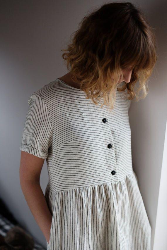 Gestreiftes Leinen Kleid schwarz / weiß-Leinenkleid Bio | Etsy
