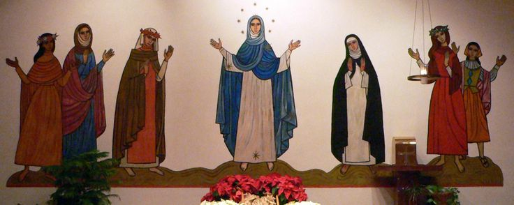 Dominican Retreat & Conference Center Chapel Mural.  From left to right...St. Rose of Lima, St. Jane of Aza, St. Catherine of Siena, Our Lady, St. Catherine de Ricci, St. Mary Magdalen, St. Maria Goretti painted by Tomie De Paola
