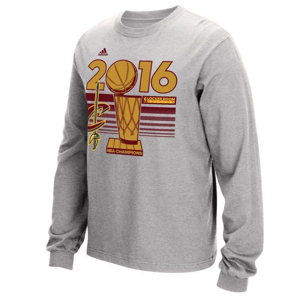 Men's Cleveland Cavaliers adidas Gray 2016 NBA Finals Champions Locker Room Long Sleeve T-Shirt