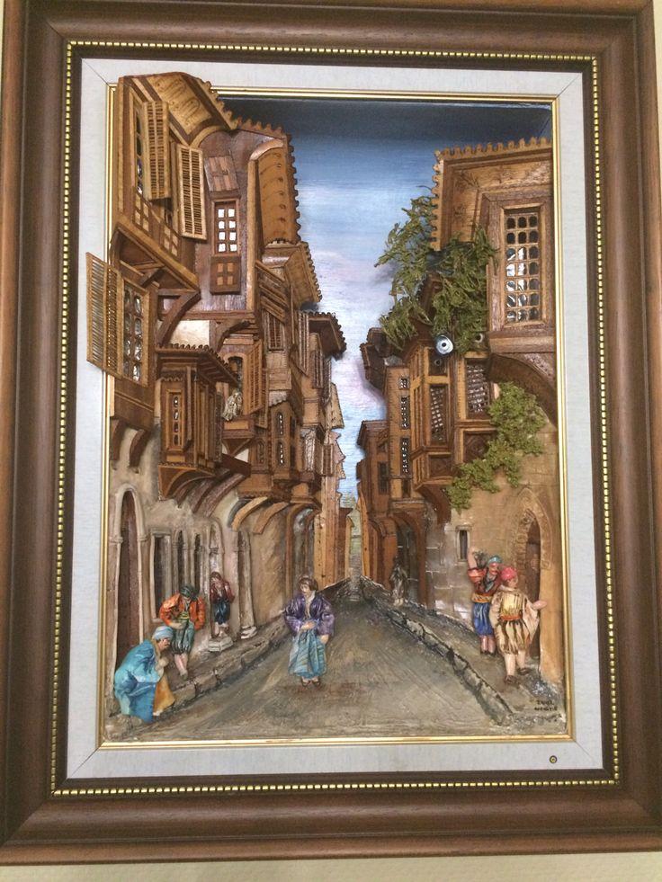 İstanbul Sokakları-Ahşap Rölyef