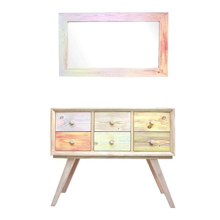 Pastel set mirror and drawer