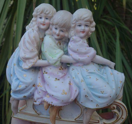 Gebruder Heubach Bisque porcelain Piano Baby doll group Figurine Antique unmarke