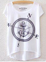 Motif Anchor T-Shirt Femme Simple Style  's manches courtes