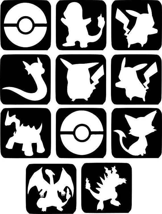 Refill Stencils Only 25  11 X Pokemon Glitter Tattoo