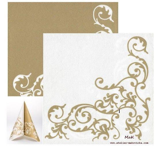 luxusné servítky z netkanej textílie biela/zlatá pre bohatú svadbu