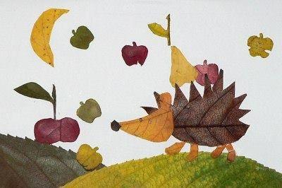 Фантазия из осенних листьев - аппликация на тему природы 7