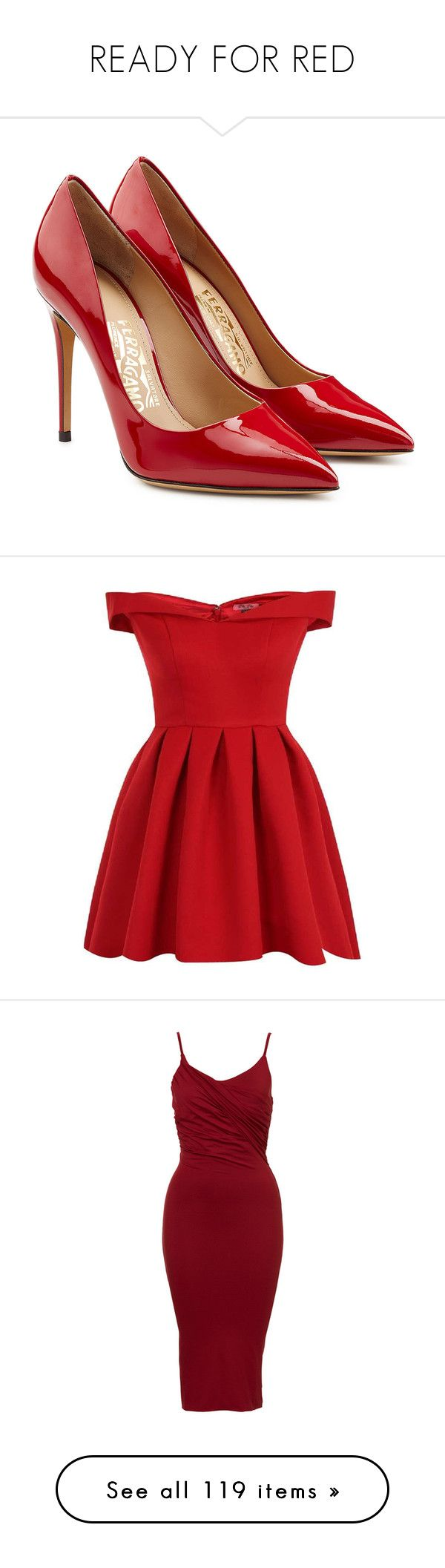 """READY FOR RED"" by lullilia ❤ liked on Polyvore featuring shoes, pumps, heels, red, scarpe, red stiletto pumps, patent leather pumps, pointed toe shoes, red shoes and red stilettos"
